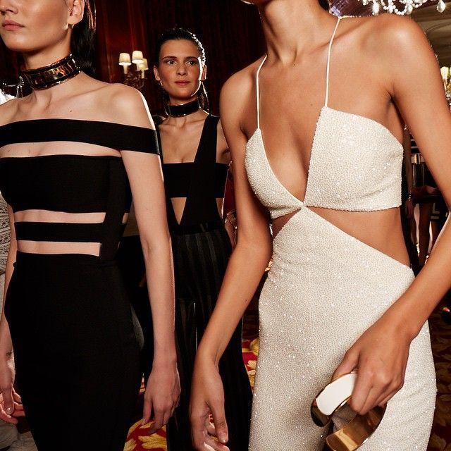 Balmain SS15 white cut-out dress