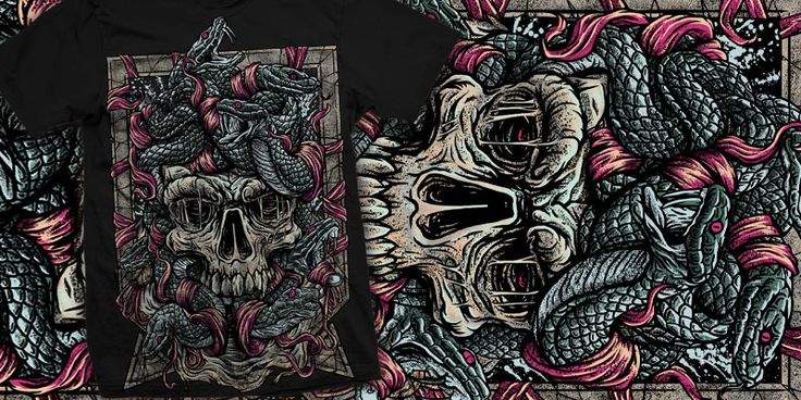 """medusa"" t-shirt design by burntilldead"