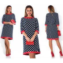 2016 New Spring Dot tisk Straigth Dress Women O-neck tři čtvrtiny rukávy Příležitostné módní mini šaty Plus Velikost 5XL 6XL (Čína (pevninská část))