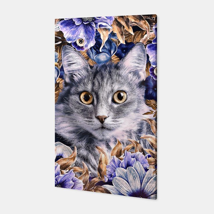 Cat In Flowers. Autumn Canvas, Live Heroes