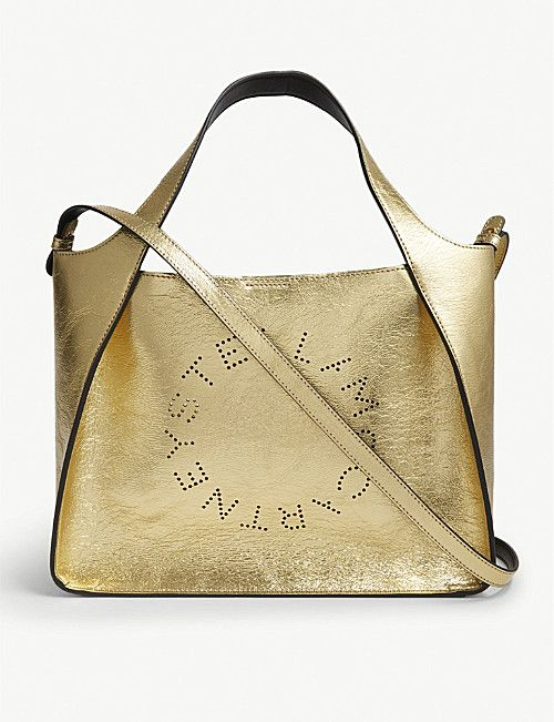 74be0c48a7 STELLA MCCARTNEY Logo metallic faux-leather shoulder bag