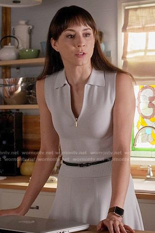 Spencer's grey zip-neck polo dress on Pretty Little Liars.  Outfit Details: https://wornontv.net/56103/ #PLL