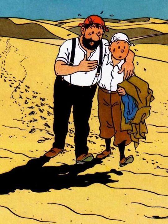 Tintin et Capitaine Haddock marchent dans le désert. Il fait très chaud!