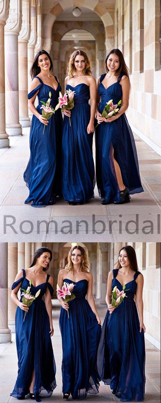 2018 Long Bridesmaid dress,Navy blue bridesmaid dress, Off the shoulder bridesmaid dress, Sexy bridesmaid dress, Elegant bridesmaid dresses, BD0400