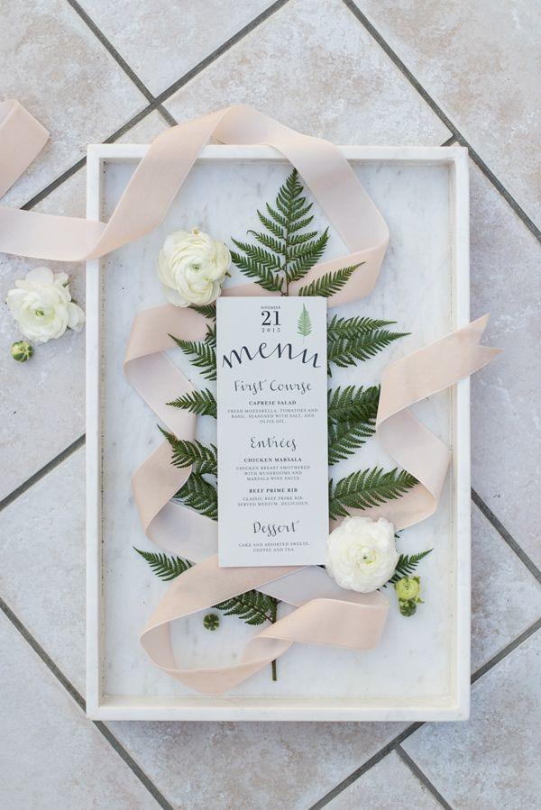 botanical inspired menu - photo by Sweet Root Village http://ruffledblog.com/winter-art-gallery-wedding