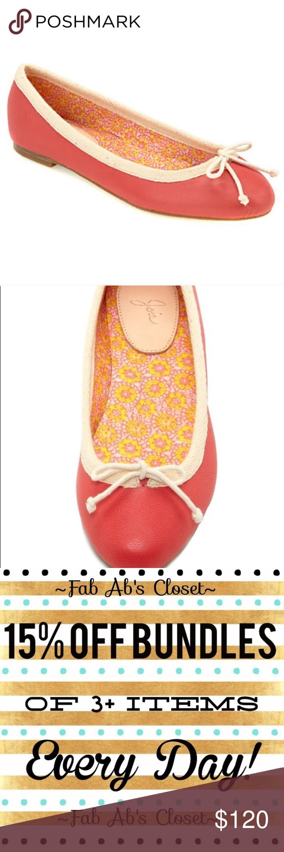 Joie Lighthouse Ballet Flats Super cute coral and cream ballet leather flats with cream bow on toe. like new condition! Euro size 40.👗Fab Ab's Closet; Re-Styled Resale 👗 🎀15% OFF 3+ ITEM BUNDLES🎀 👉🏻PLEASE USE OFFER BUTTON👈🏻 ❌NO PP, TRADES, HOLDS❌  🛍ITEMS ALWAYS 100% AUTHENTIC🛍 👑SUGGESTED USER👑 Joie Shoes Flats & Loafers