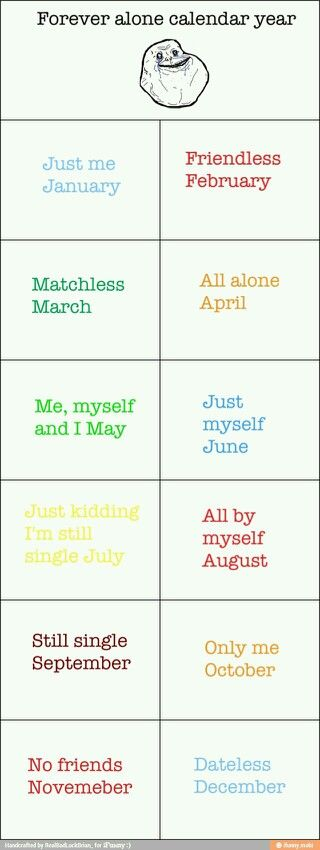 Forever alone calendar, hilarious! For those who fail miserably in the relationship department (and no humping every dude you meet on match doesn't count as a relationship!)