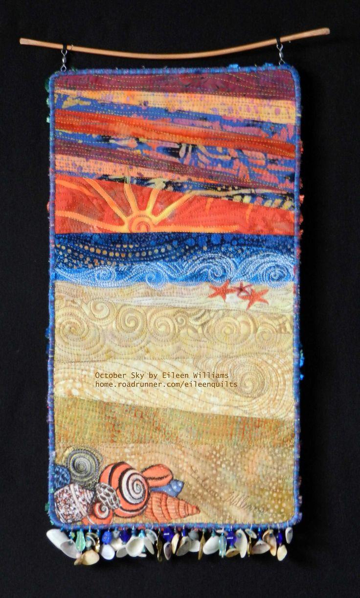October Sunset. Small art quilt beach scene by Eileen Williams Life s a Beach...... Art Quilts ...
