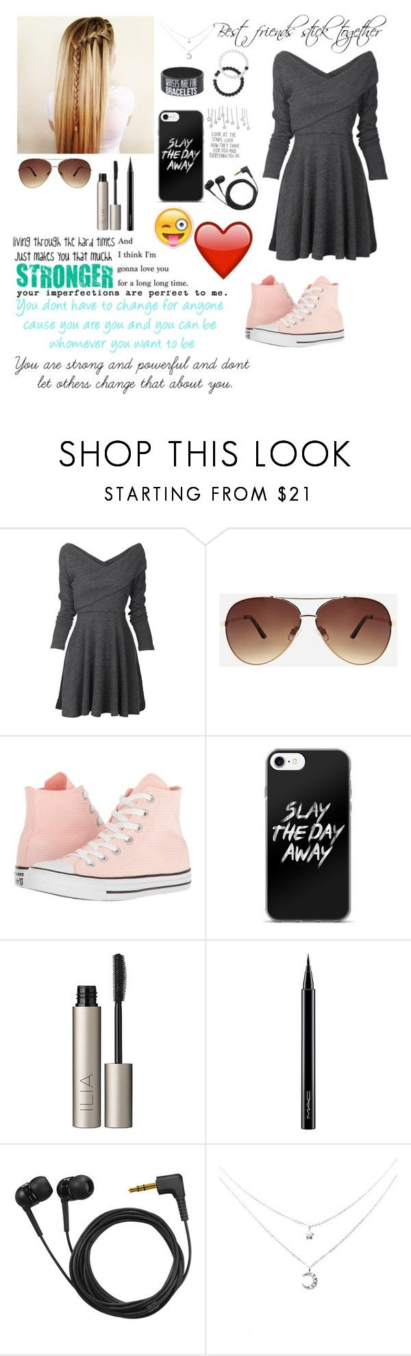"""RTD (I love you)"" by blondypup ❤ liked on Polyvore featuring Ashley Stewart, Converse, Ilia, MAC Cosmetics, Sennheiser, Hot Topic and Lokai"