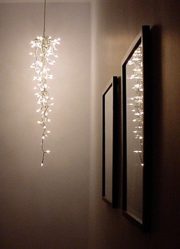Christmas lights as a chandelier