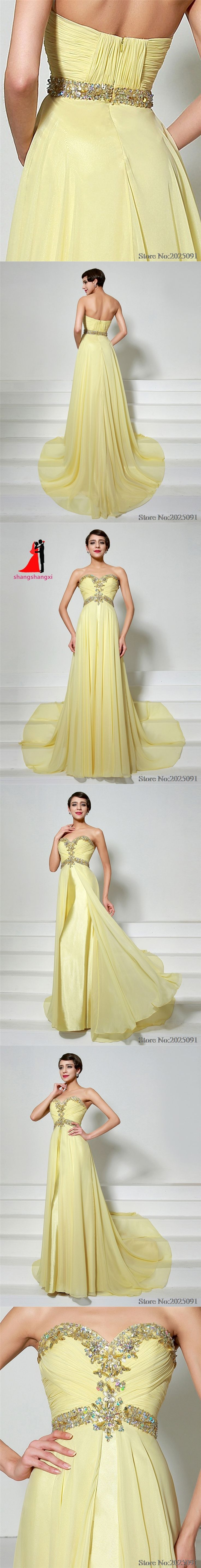 2017 Sweetheart Chiffon Yellow Evening Dresses vestido de festa longo Crystal Beads Prom Dresses Formal Evening Gowns Dresses