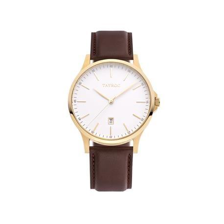 Reloj caballero TAYROC Brown Leather. Blanco y oro rosado  El pasado siempre vuelve, pero lo hace con un aire renovado y muy sexy gracias al dorado rosado. Con un diseño clásico y formal este reloj se transformará en una pieza básica.