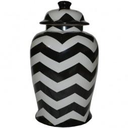 ZIG ZAG CERAMIC URN  Zig Zag ceramic urn makes a bold statement in any room.    Dimensions: 23cmwx44 cm h      price $135.00