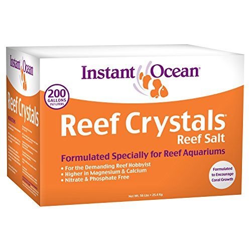 Instant Ocean Reef Crystal Sea Salt Marine Mix, 200-Gallon - Instant ocean reef crystals are easy-to-use and provide all of the necessary elements required for a healthy coral environment. extra calcium, trace elements and vitamins promote growth and support the health of a variety of corals; including stony corals, coralline algae, anemones and other inve...