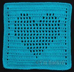 Free Crochet Pattern: Heart Filet Block 2 pattern also available with solid heart ~ free crochet patterns~