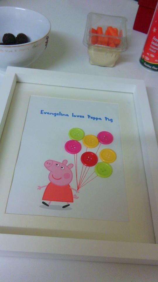 "Button Art I did this peppa pig picture for my daughter.  I used google to find a picture of ""peppa pig walking"" Then used paint to add some words.Then printed it out.  I used some sharpies and a ruler to do some string for the balloon.  I found the brightly coloured buttons cheap locally in wellworthit £1.25 and have barely used half. I did end up with a couple of extra buttons as I managed to smear a line with glue so be careful.  I hid the damage with 2 more balloons."