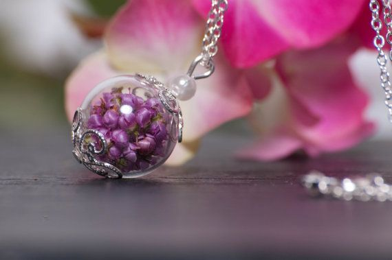 Real Flower Heather Glass Globe Necklace Thank by LomharaJewellery