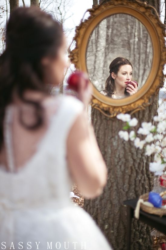 Snow White Bride - Mirror Mirror Princess Wedding - Snow White {Styled Winter Wedding Photo Shoot – Connecticut} Sassy Mouth Photography | Country Girl Collections | Sassy Mouth Photography {The Blog}