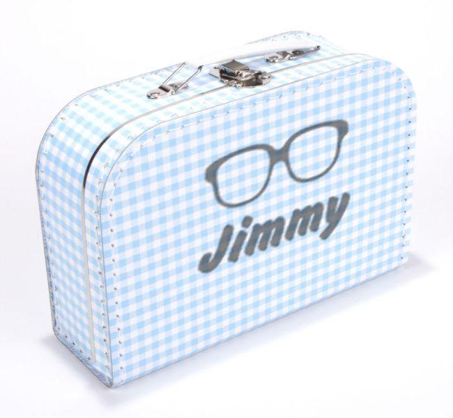 Koffertje bril met naam blauw ruit