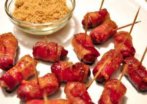 pigs in bacon ... fun appetizer! #superbowl
