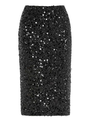Warehouse, SEQUIN SKIRT Black