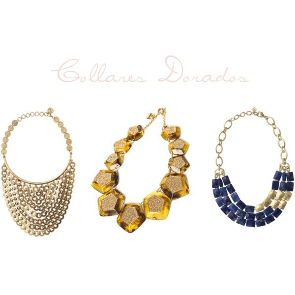 Collares babero dorados, created by smilinglook on Polyvore