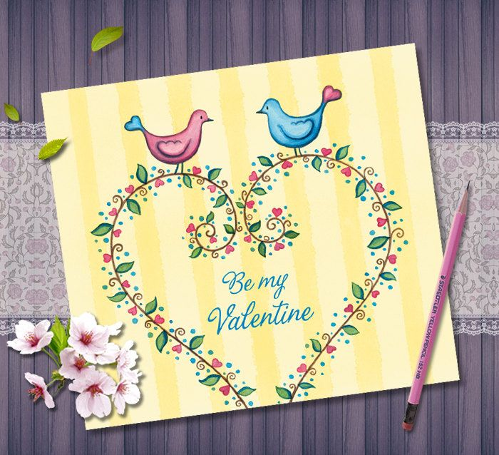 Valentines Day Card Digital Download, Be my Valentine, Printable Love Card, Love Birds Watercolor Painting, Invitation, Floral Heart Design by NopiArtStudio on Etsy