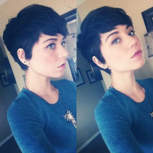 Pixie cut. So cute. @Jill Simpson I know this is really short haha.. but it wouls totally suit you too! She has the same face shape as you..It would look so puuuurdy :P