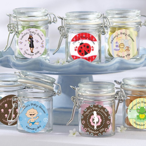 Empty glass canister jar fillable baby shower favor