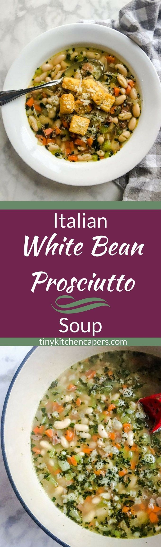 This healthy, hearty white bean soup is flavor-packed with italian herbs, garlic, and prosciutto. A warm, satisfying soup for even the coldest of days. #soup | tinykitchencapers.com
