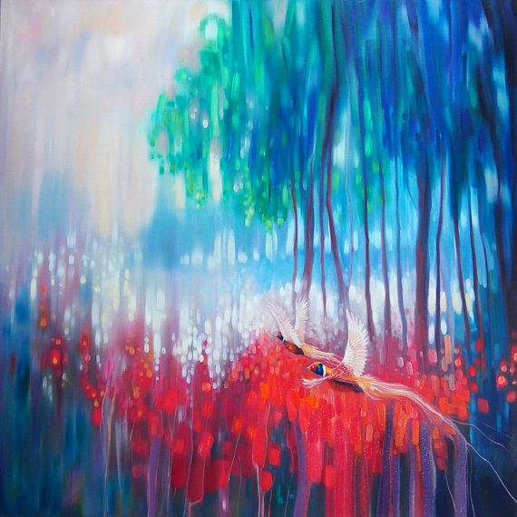 Print on canvas Shimmering Summer landscape with poppies