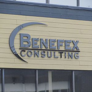 "Benefex Consulting in Edmonton, AB. 1/4"" Thick, Flat-Cut-Out Black Acrylic Letters."
