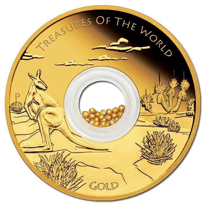 2014 $100 Treasures of the World – Australia #Gold 1oz Gold Proof Locket