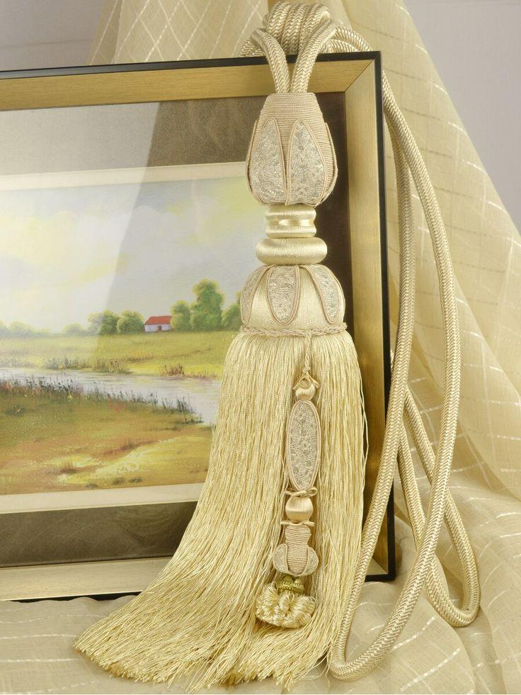 4 Colors QYM04 Faux Silk Curtain Tassel Tie Backs in Beige Color