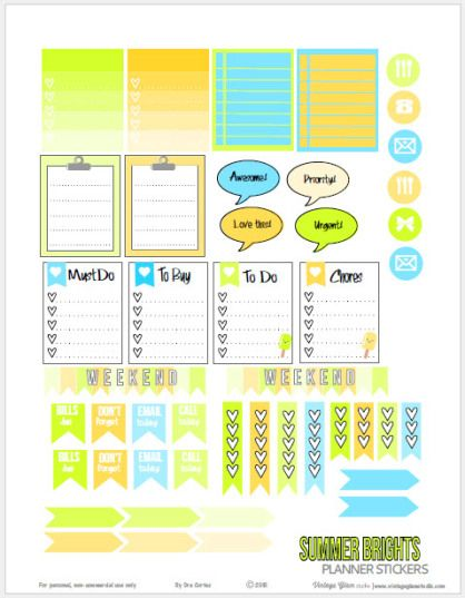 Summer Brights Planner Stickers Printable | Free for personal use only.