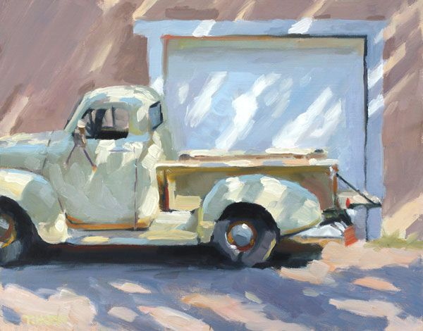 Tim Horn, a pickup truck painting with dappled light