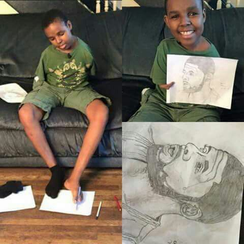 Local Cleveland Cavaliers supporter who has no arms, draws an AMAZING portrait of Kyrie Irving with his TOES! This deserves ENDLESS amount of shares and likes.  Respect. #NoLimits