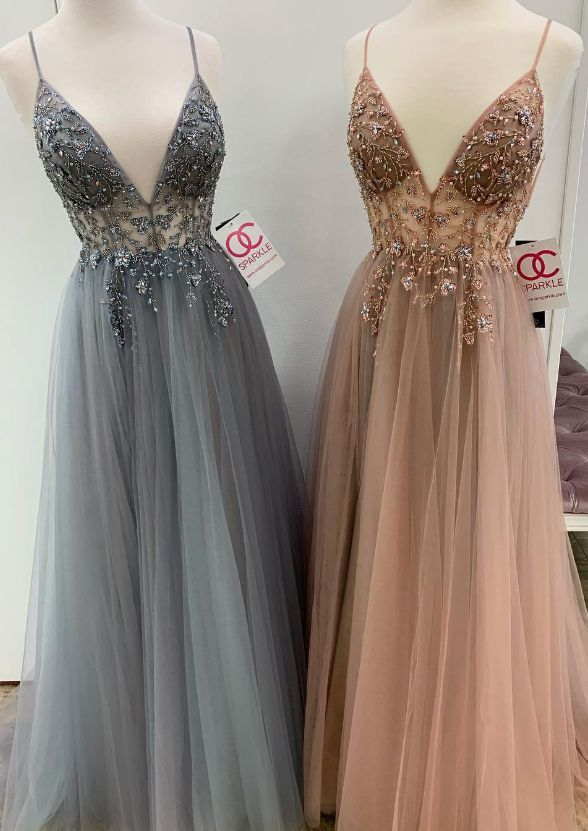 Sexy Straps Brown Tulle Long Prom Dress with Slit