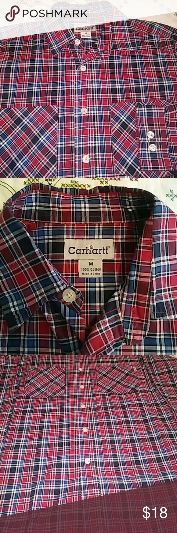 Carhartt Work Shirt Get the job done stylin' it in this Red, White and Blue Carhartt shirt. Features two pockets, pearline buttons, and a nice soft feel from 100% cotton. Only worn a few times. Carhartt Shirts Casual Button Down Shirts