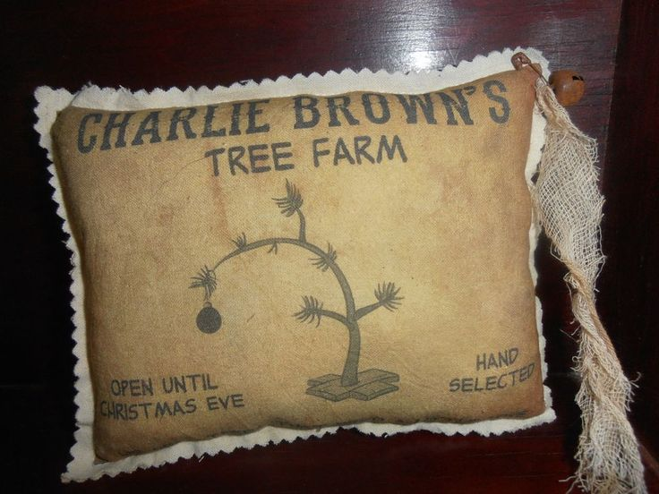 Charlie Brown Christmas Tree Farm Part - 28: PrimiTive Rustic Country Medium FaBric PilloW ChrisTmas Charlie Brown Tree  Farm