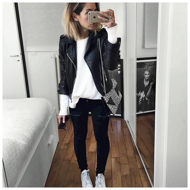 Aujourd'hui c'était donc noir et blanc! Leather Jacket #balenciaga (old) Top #bash (old) Jean #hironaeparis (on @hironaeparis) Bag #saintlaurentparis (from @vestiaireco) ... by audreylombard