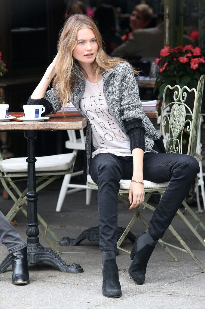 Behati Prinsloo poses during a photo shoot for Victoria's Secret Fall 2013 catalogue at the West Village in New York City