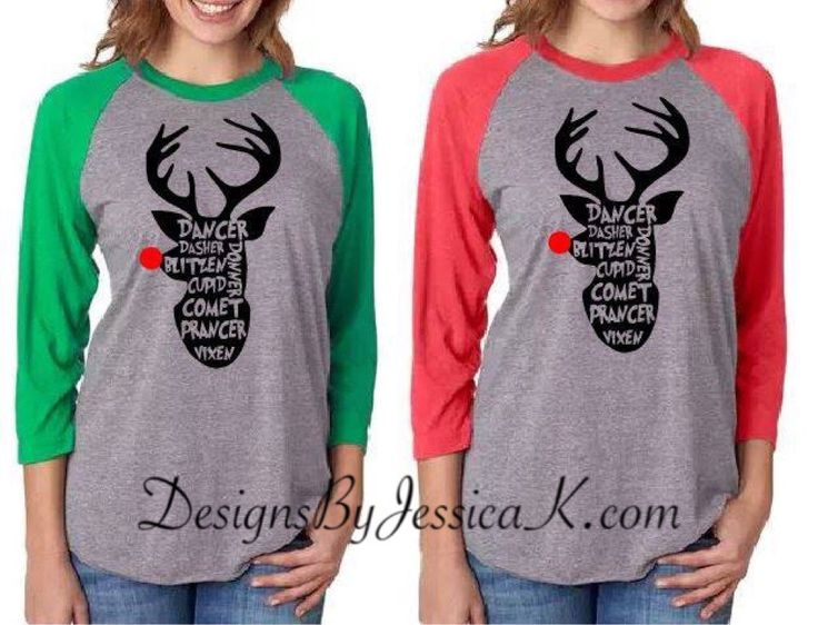 Deer Silhouette With Rudolph Nose Reindeer List Shirt Design For Men Or Women. Unisex Baseball Raglan Shirts. Christmas Shirt. Holiday by DesignsByJessicaK on Etsy