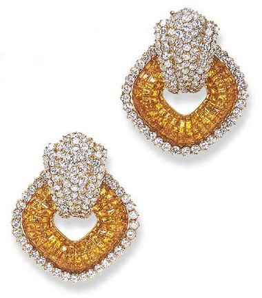 A PAIR OF DIAMOND AND YELLOW SAPPHIRE EAR PENDANTS, BY SABBADINI