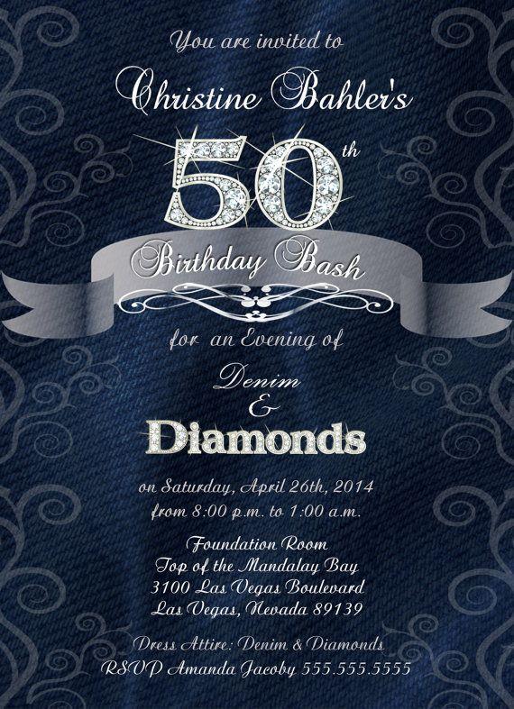Denim and Diamonds Birthday Anniversary or by BrooklynDesignStudio
