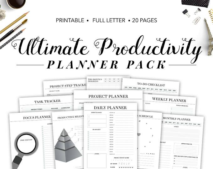 Productivity Planner printable with priorities and hourly