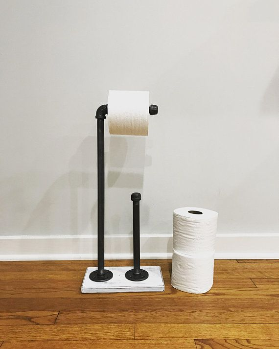 Whitewash Industrial Toilet Paper Storage Stand Wood Holder Toilet Paper Holder Floor Stand Holder Bathroom D Paper Storage Toilet Paper Toilet Paper Stand
