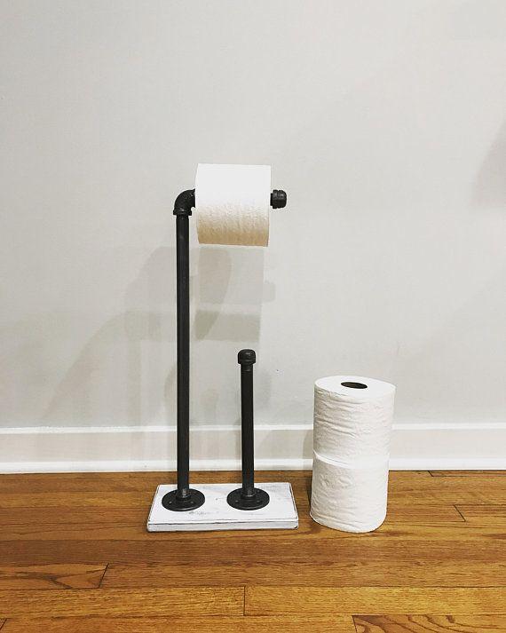 Whitewash Industrial Toilet Paper Storage Stand Wood Holder Toilet Paper Holder Floor Stand Holder Bat Industrial Toilets Toilet Paper Toilet Paper Storage