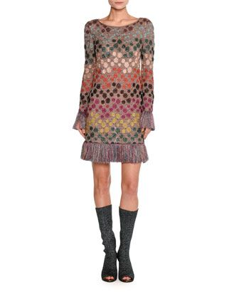 Long-Sleeve+Lurex®+Polka-Dot+Shift+Dress+with+Fringe,+Multicolor+by+Missoni+at+Neiman+Marcus.
