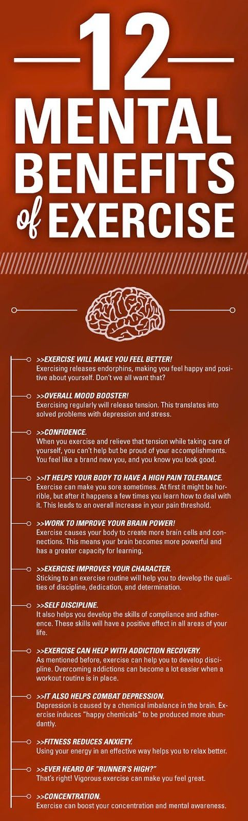 Exercise as a natural remedy for tension, anxiety, depression, pain and brain health -  12 Mental Benefits of Exercise [Infographic]